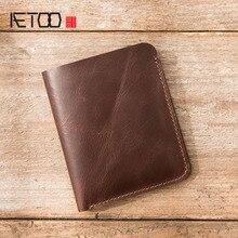 AETOO 가죽 지갑 남성 짧은 단락 가죽 수제 두 배 얇은 운전 면허증 지갑 수직의 첫 번째 계층