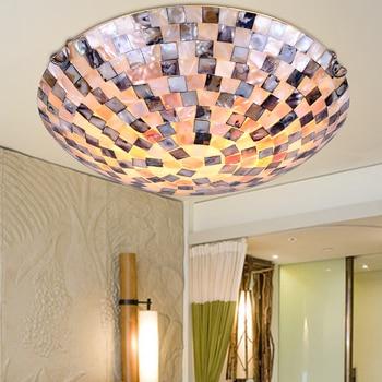 12 pollici Tiffany Mediterraneo stile naturale shell luci di soffitto lustri luce di notte piano bar di illuminazione a casa