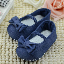 Baby Bowknot Denim Toddler Princess First Walkers Girls Kid Shoes(China)