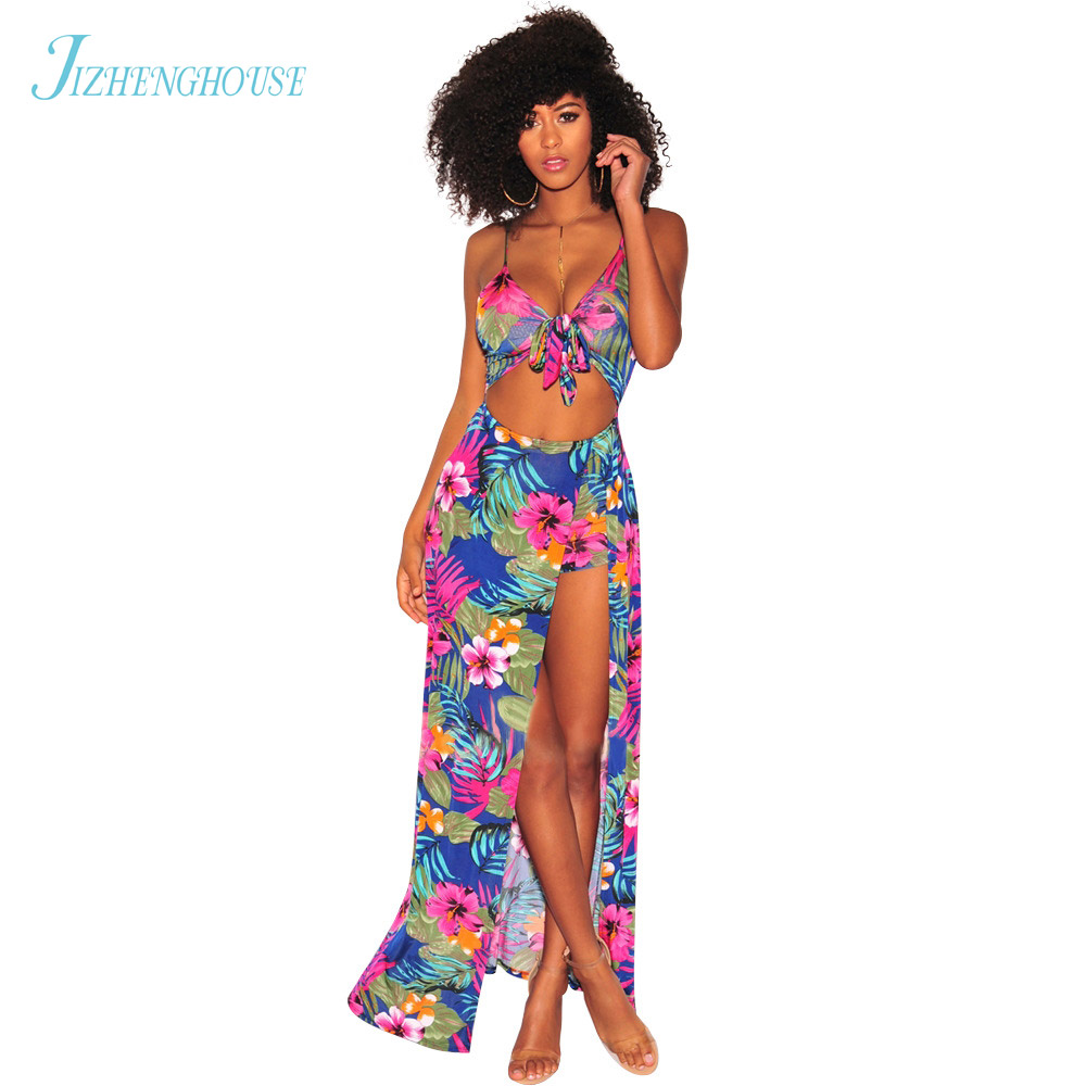 JIZHENGHOUSE Bohomian Sexy Hollow Women Summer Casual Beachwear Dress Lady Spaghetti Strap Floral Dresses