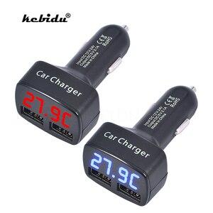 Image 1 - Kebidu cargador de coche 4 en 1 Dual DC5V 3.1A, USB, con voltaje/temperatura/medidor de corriente, adaptador de probador, pantalla Digital