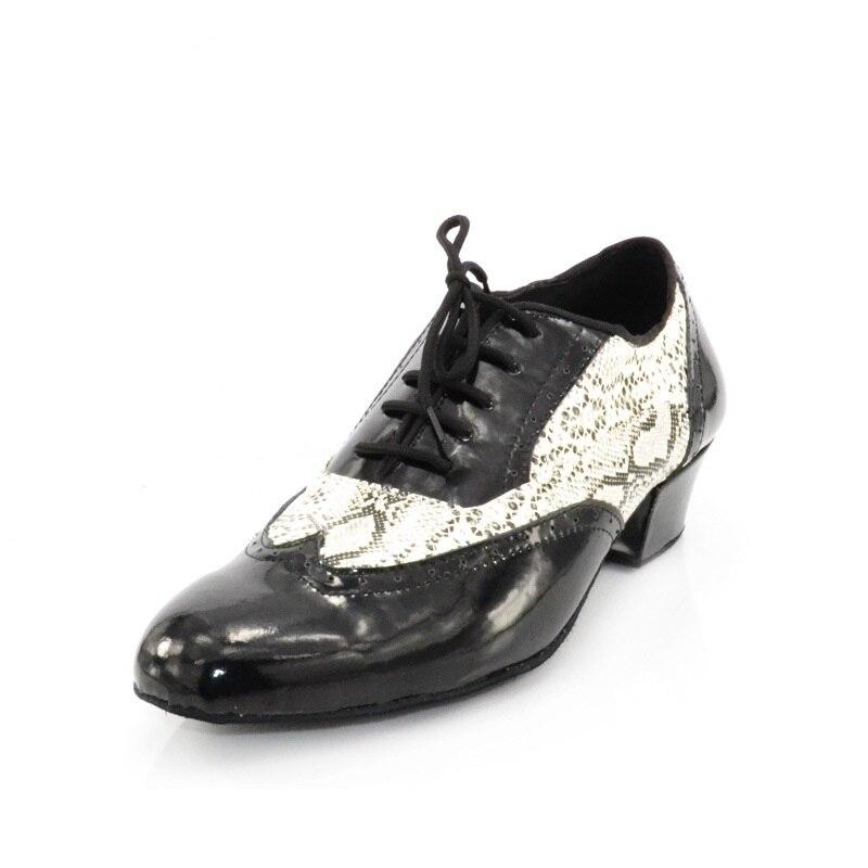 Chaussures de danse latine pour hommes en cuir véritable chaussures Salsa semelle en daim talon 4.2 cm chaussures de danse moderne pour hommes VA30