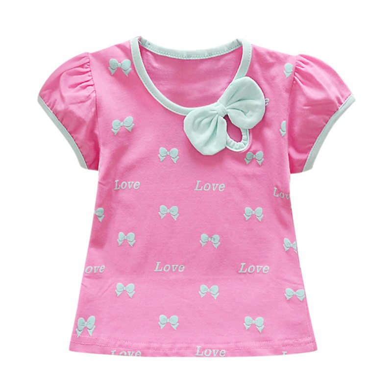 Baby Girl Summer Toddler Short Sleeve Bow Printed Pattern T-Shirts Girls Cotton Casual Tops New