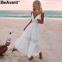 BeAvant Embroidery cotton white summer dress women Sexy v neck spaghetti strap long dress High waist button casual dress female