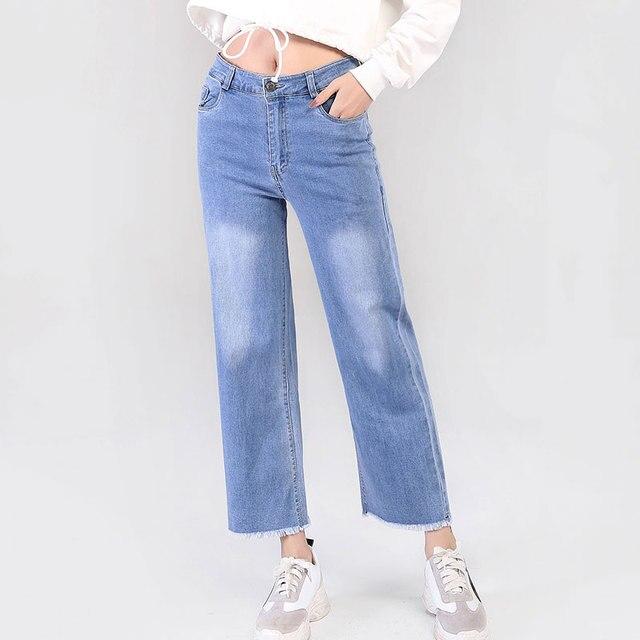 נשים ג 'ינס חדש אופנה גבירותיי ישר מכנסיים משובץ Loose סגנון אמצע מותן מכנסיים נקבה אביב סתיו כותנה ג' ינס משלוח ספינה