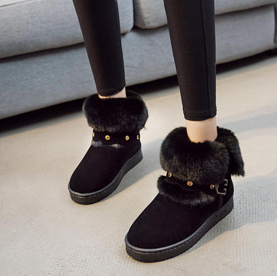 Hiver Mode Boucle La Lady Femmes Neige Coton Bottine Bottes Chaussures khaki Black En Bottines Chaleur Brossé grey Nouveau À Fourrure Style De Épaissir Peluche L051 xIqwz445