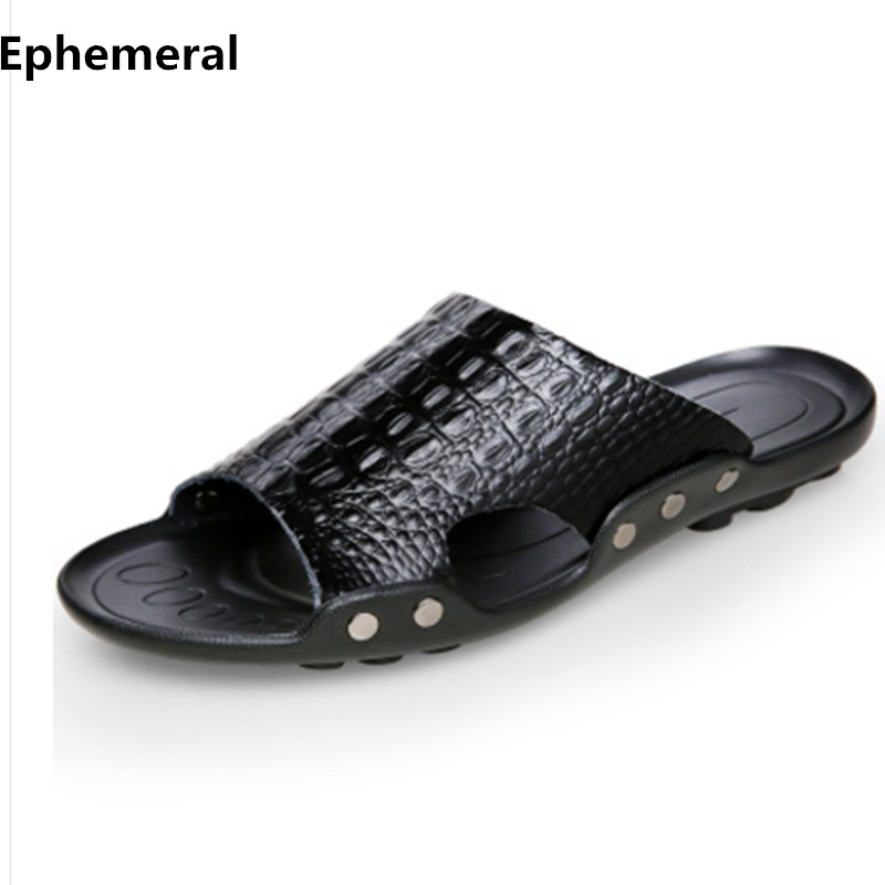 Man Split Leather Slippers Sequined Slides For Beach Summer Shoes Massage Outdoor Footwear Real Leather Plus Size 48 38 Orange