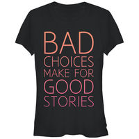 Harajuku Shirt Funny Femme Brand Clothing Chin Up Bad Choices Good Stories Juniors Graphic T Shirt