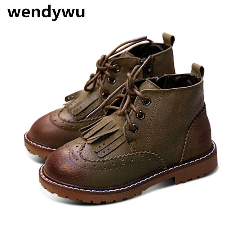 WENDYWU autumn fashion oxford shoes for children martin boots baby girls tassel boots boys brand black boots toddler boots