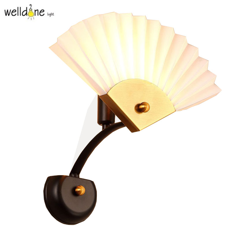 Modern Creative iron Wall Lamp Fan Shape Luxury white/blue Bedroom Corridor Sitting Room Wall Light for Home Lighting