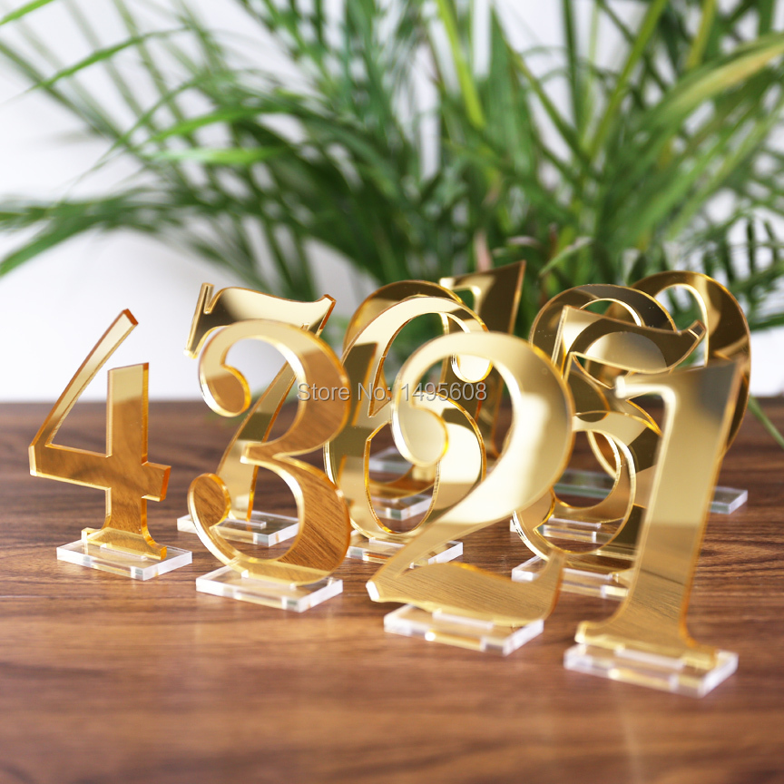 Acrylic Table Numbers for Wedding Party or Event, Gold or Silver Wedding Decor for Wedding Table Number Signs