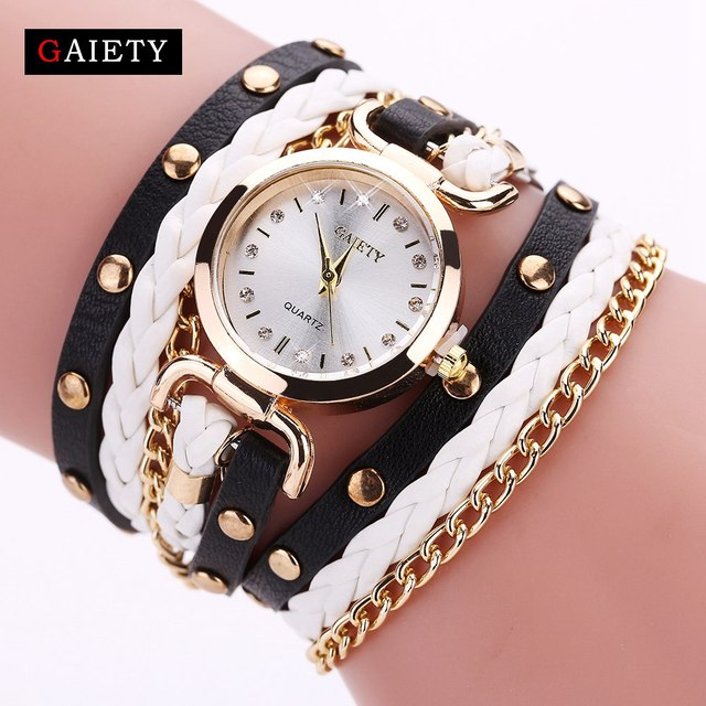 Gaiety Women Watch Quartz Female Clock Leather Crystal Retro Rivet Luxury Gold L