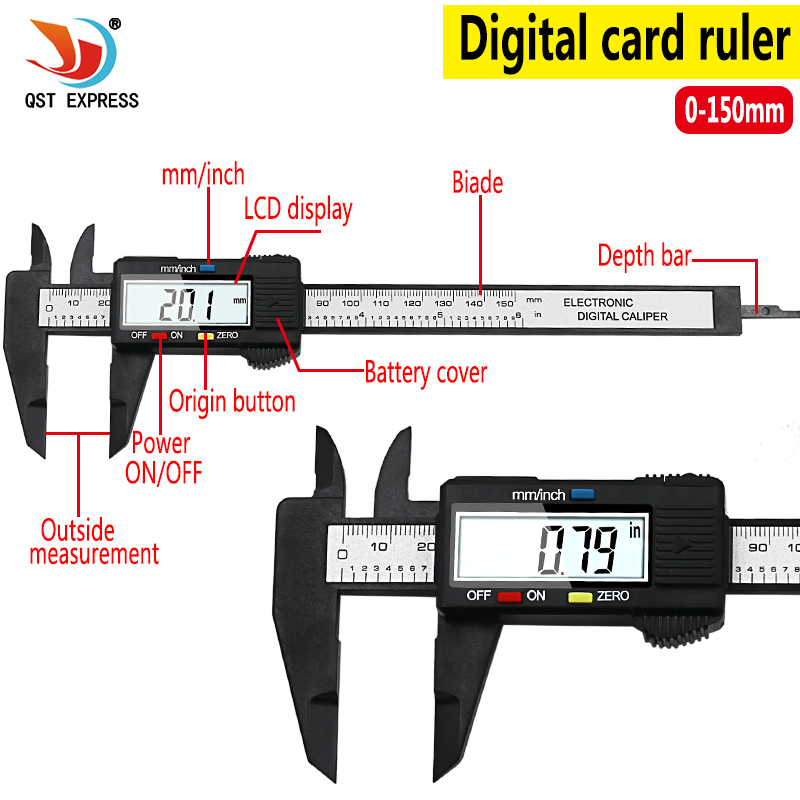 QSTEXPRESS New Arrival 150mm 6 Inch LCD Digital Electronic Carbon Fiber Vernier Caliper Gauge Micrometer Measuring Tool QST008