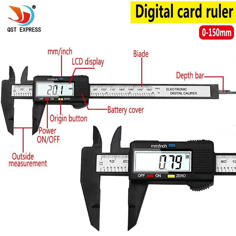 QSTEXPRESS New Arrival 150mm 6 inch LCD Digital Electronic Carbon Fiber Vernier Caliper Gauge Micrometer Measuring Tool QST008
