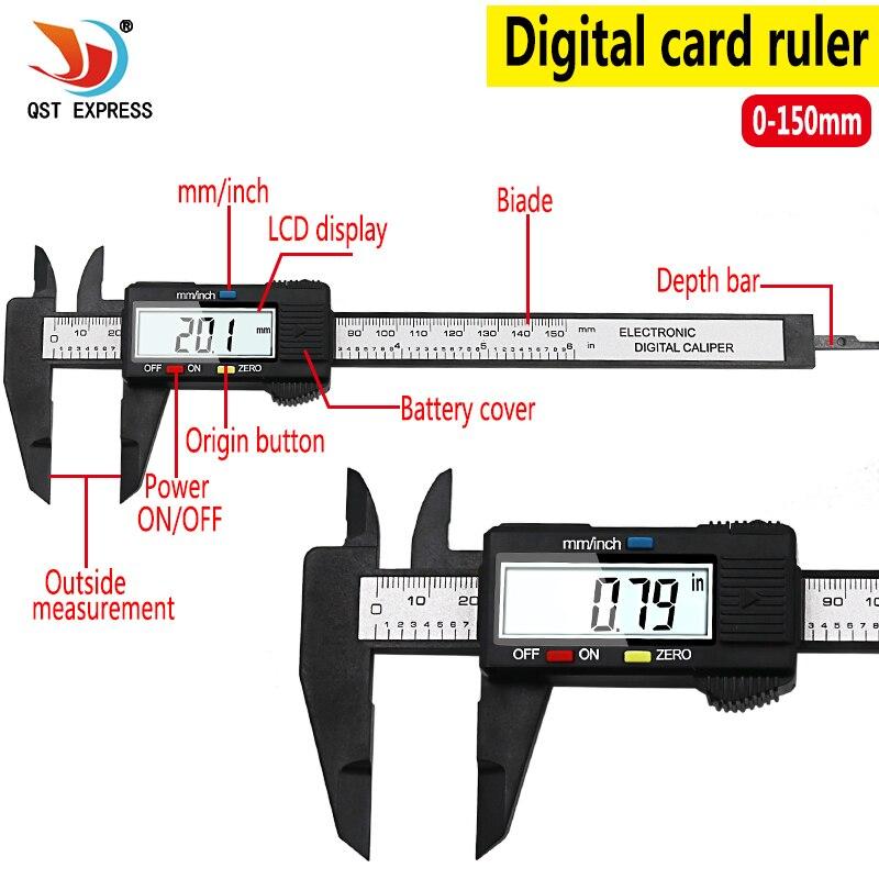 QSTEXPRESS nueva llegada 150mm 6 pulgadas LCD Digital electrónico de fibra de carbono Calibre Vernier herramienta de medición micrómetro QST008