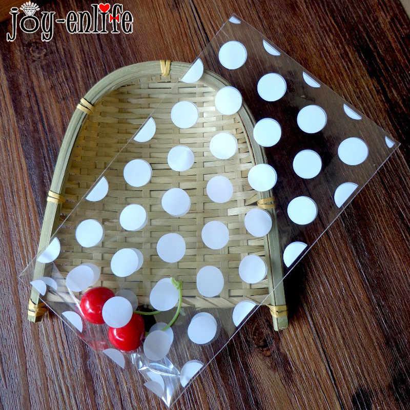 20 pcs Giáng Sinh Nhựa Kẹo Túi Túi Túi Quà Tặng Vàng Trắng Polka Chấm Suốt Cookie Túi Sinh Nhật Năm Mới Đảng Thực Phẩm đóng gói