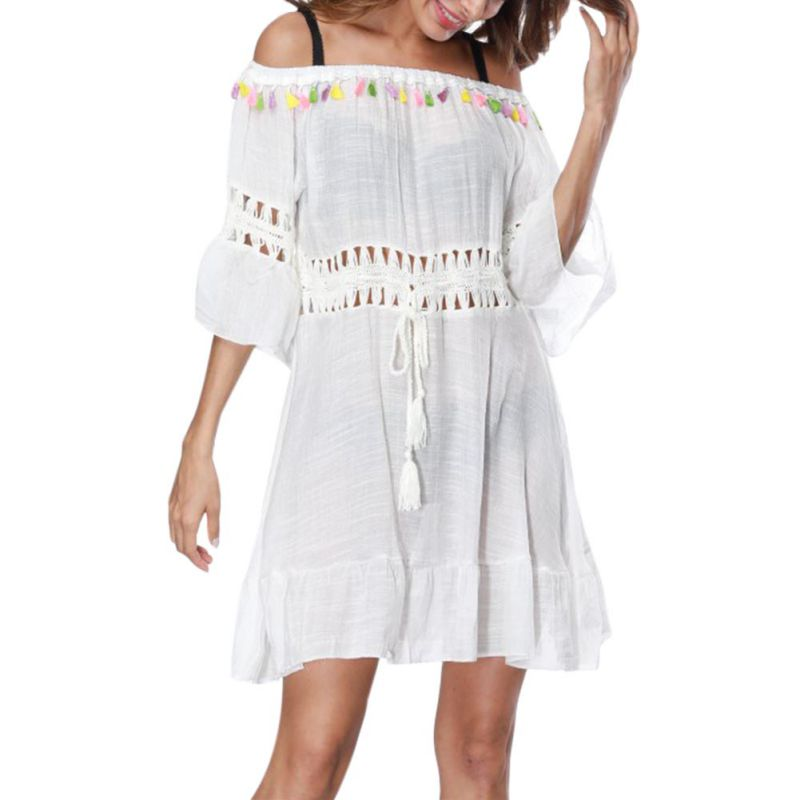 44121e7be821 Thin Airy Lace Hollow Crochet Beach Dress Women Summer Ladies Bathing Suit  Beach Wear Tunic Sundress Female Summer Dresses