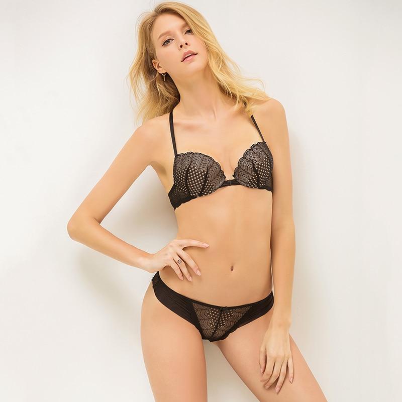 Nueva llegada del cordón del sujetador push up mujer ropa interior cómoda moda bra y panty bra set lingerie set intimate