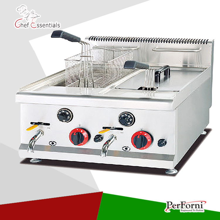PKJG-GF585 16L Capacity Stainless Steel Counter Top Gas Deep Fryer with two tank and two basket 1pc gas type stainless steel food fryer french fries fryer potato deep fryer deep fat gas fryer