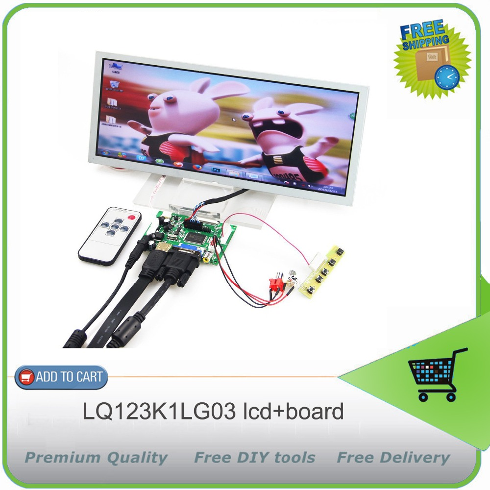 HDMI+VGA+2AV Lcd Controller Drive Board +12.3inch 1280*480 LQ123K1LG03 LCD Panel
