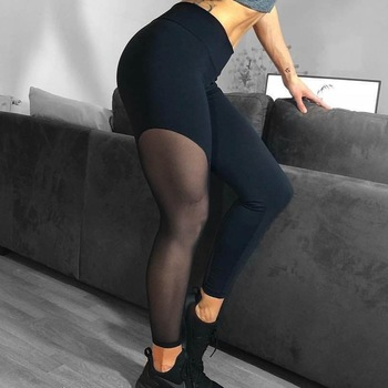 цена на 2019 clothes women spandex legging push up sexy black mesh high waist leggings pants see through skinny legging fitness