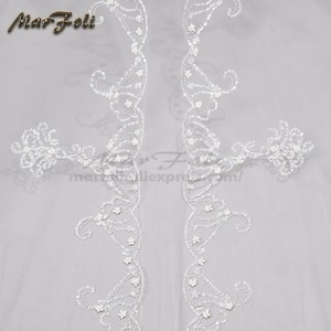 Image 5 - Wedding Veil 4 Meters Length 2.5M Width Real Image White\Ivory Sequins Bead Edge Cathedral Bridal Veils wedding accessories