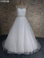 2017 Free Shipping Organza Applique Beaded Wedding Dresses Scoop Neck Ball Gown vestidos de novia 2017 Floor Length Court Train