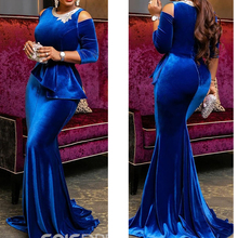 royal blue prom dresses 2019 crew neckline lace appliques peplum velvet evening