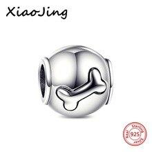 Original guarantee 925 sterling silver dog bone charm Fits European Pandora Charm Bracelet