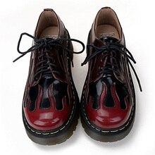 Echtes Leder Schuhe Für Frauen Fashion Street Punk Flamme Martin Schuhe Marke Stil Lace-Up Oxford Schuhe Plattform HARAJUKU Schuhe