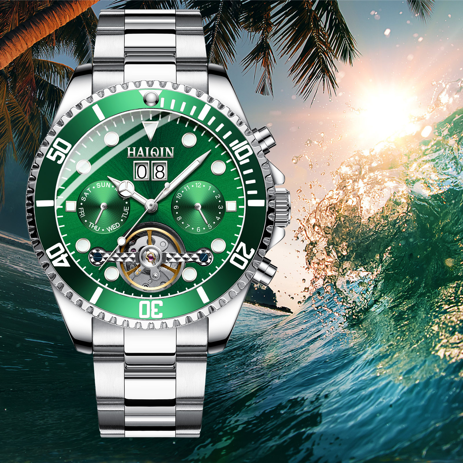 HAIQIN Brand Luxury Mens Watch Machinery Business Steel Watch Sports Waterproof Watch Tourbillon Green Water Ghost SeriesHAIQIN Brand Luxury Mens Watch Machinery Business Steel Watch Sports Waterproof Watch Tourbillon Green Water Ghost Series