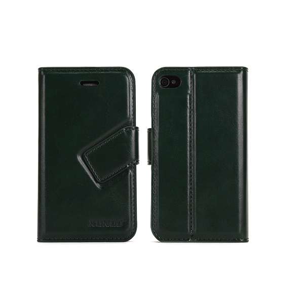 dropshipping standing function left open leather case wallet for iphone case in whose free shipping service in amry green color