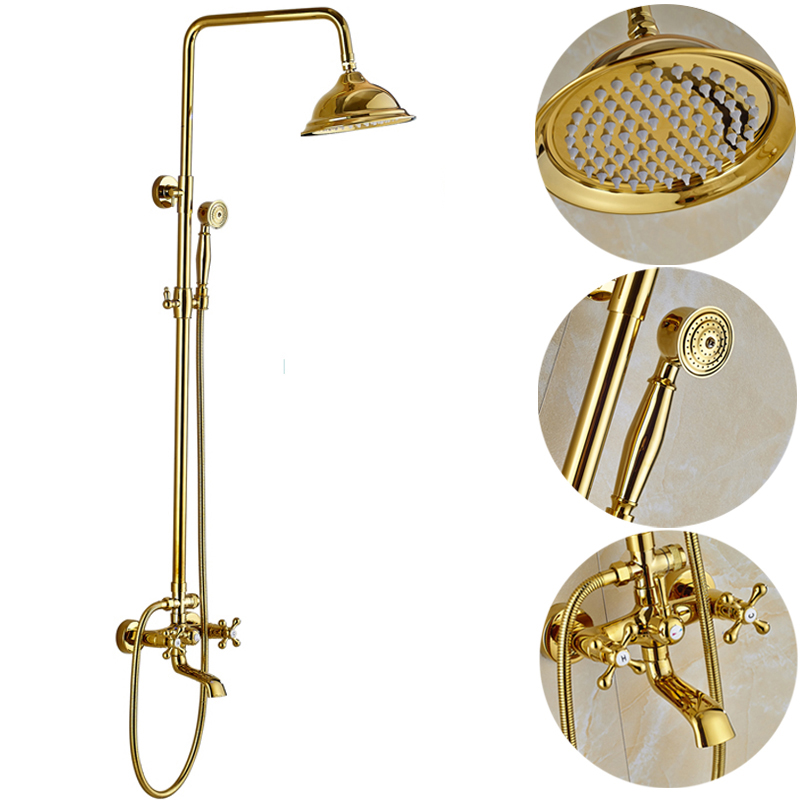 Uythner Bathtub Faucets Luxury Gold Brass Bathroom Faucet Mixer Tap Wall Mounted Hand Held Shower Head