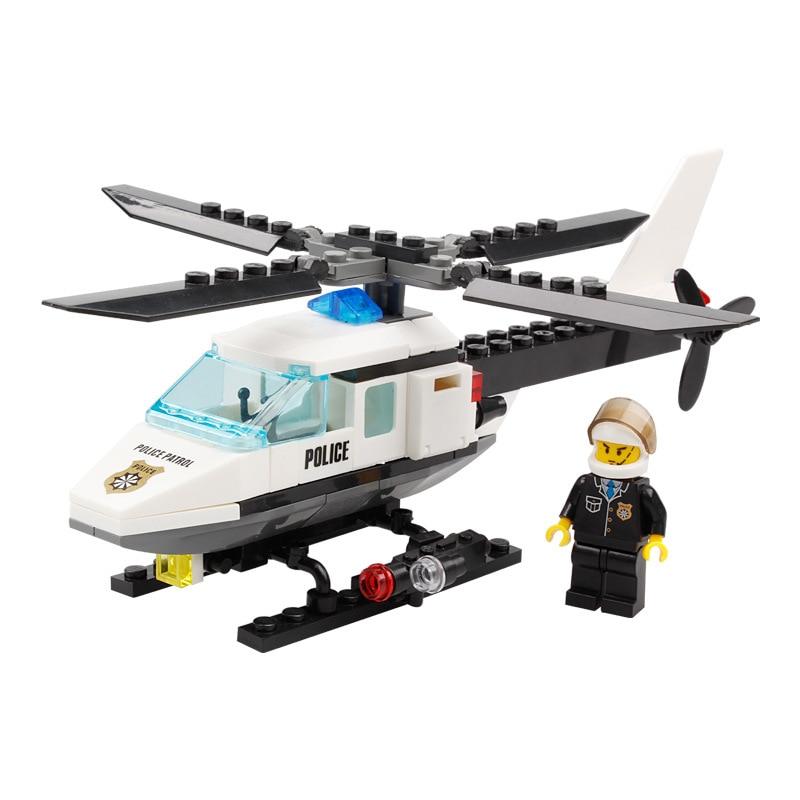 102 pcs DIY Blocos de Construção Da Estação Da Polícia Tijolos Helicóptero Kits Modelo Brinquedos Educativos Para Crianças Presente Compatível Legoing K21