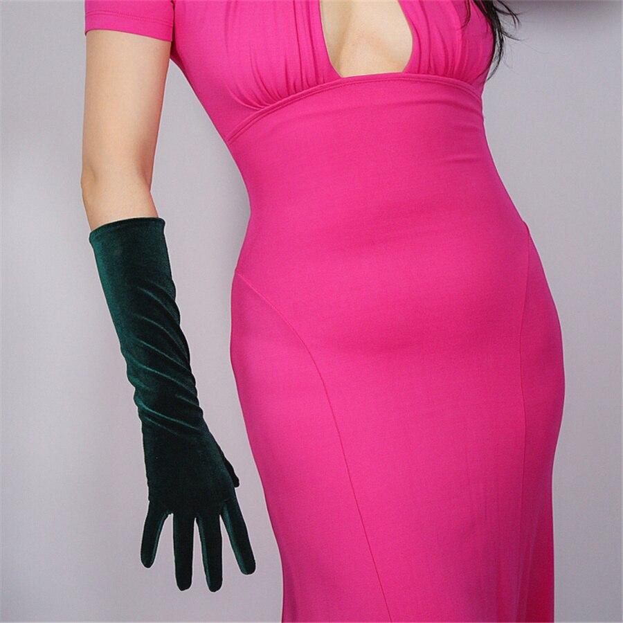 Velvet Gloves 40cm Long Green Velvet Green Female Models High Elastic Velvet Gold Velvet Touch Screen Gloves SRLS40