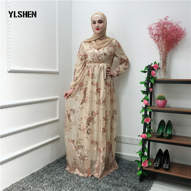 Luxury Muslim Ramadan Dress Abaya Dubai Lace Embroidery Bronzing Double Dresses Cardigan Robe Gown Jubah Middle East Eid Islamic