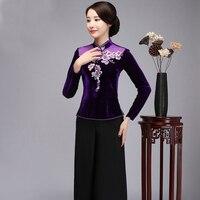 2018 New Purple Mandarin Collar Women Shirt Slim Embroidery Flower Lady Blouse Vintage Velvet Button Tang Clothing S XXXXL