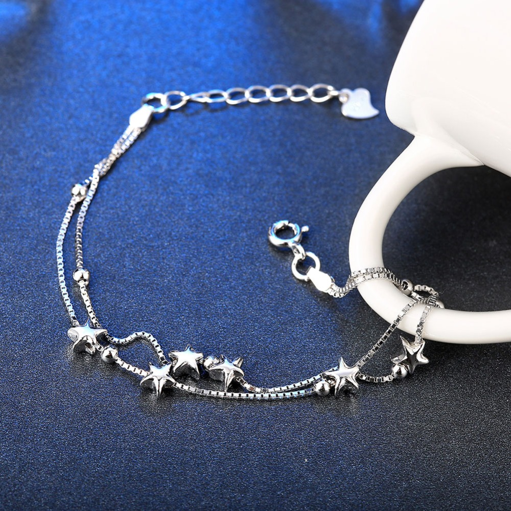 Aliexpress.com : Buy 100% 925 Sterling Silver Star Charm Bracelet ...