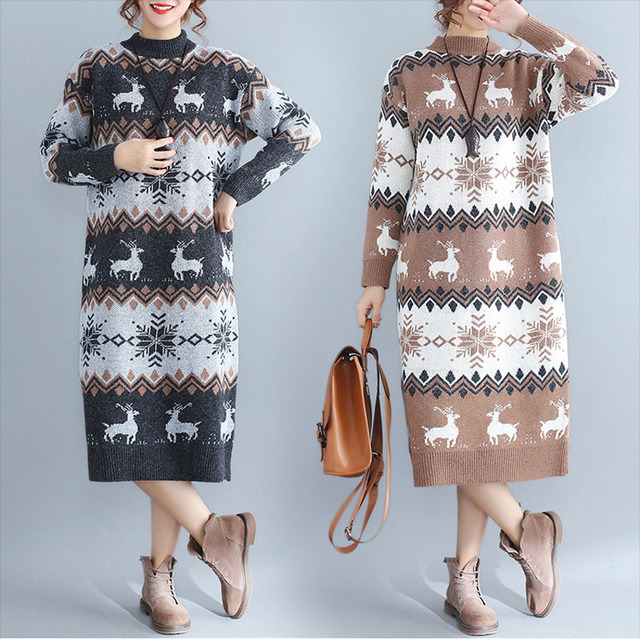 Long Sleeve Christmas Elk Snowflake Long Sweater Dress 2018 Winter Lagenlook Stitching Loose Thickening knitting Tunic