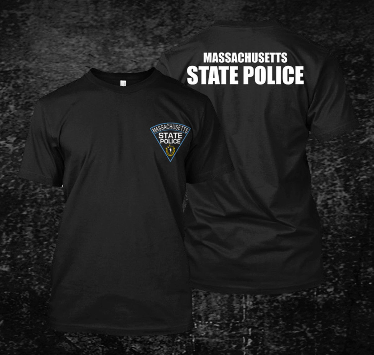Loose Black Men Tshirts Homme Tees <font><b>Massachusetts</b></font> Police State Logo - Custom Men's T-Shirt Tee Print T-Shirt Mens image