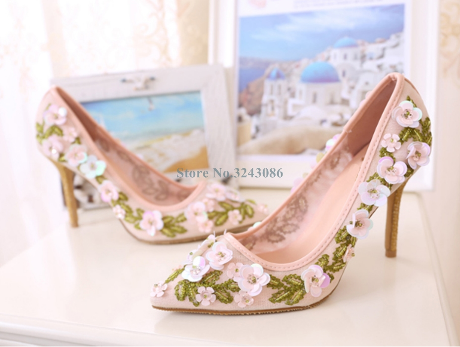 Pink Pointed Toe Mesh Thin High Heel Pumps Embroider Lace Slip On Stiletto Heel Shoes Single Strap Sweet Flower Wedding Shoes