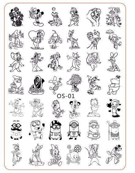 OS01 OS02, OS03 1 Pcs 10*14 CM איכות נייל Stamping צלחות נירוסטה קריקטורות תמונה Stamping נייל ארט מניקור תבנית