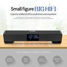 Smalody テレビ Bluetooth スピーカーポータブルワイヤレスサウンドバーデュアルスピーカー 10 ワットアラーム 時計 Led ディスプレイハンズフリー通話 AUX