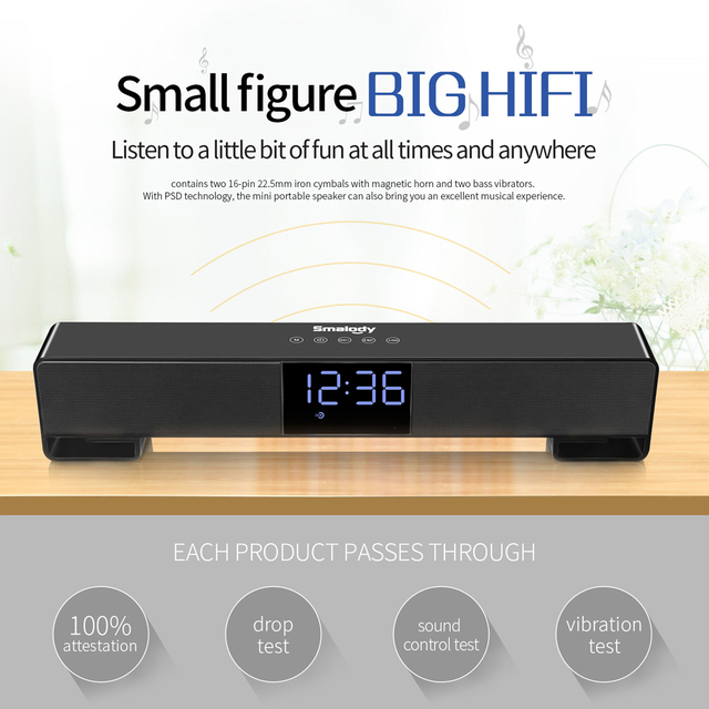 Smalody TV Bluetooth Speaker Portable Wireless Sound Bar Dual Loudspeakers 10W with Alarm clock LED Display Handsfree Call AUX