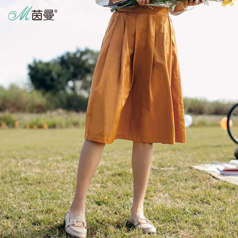 INMAN kobiety wiosna jesień kontrast kolor elegancka dama ładna środkowa spódnica