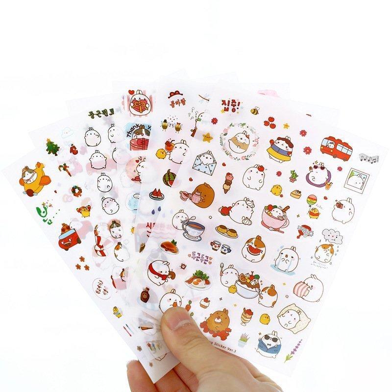 6 Sheets/set Cute Fat Rabbit Decorative Sticker Diary Album Label Sticker DIY Scrapbooking Stationery Stickers Escolar