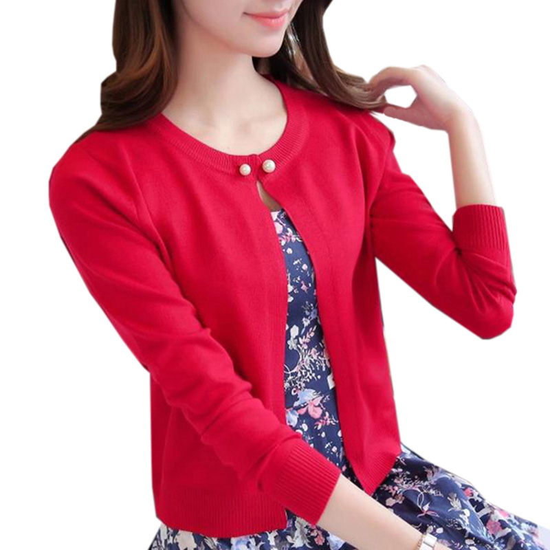 2017 Womens sweaters spring Autumn winter Full sleeve Slim Pocket Knitted Cardigan Ladie ...