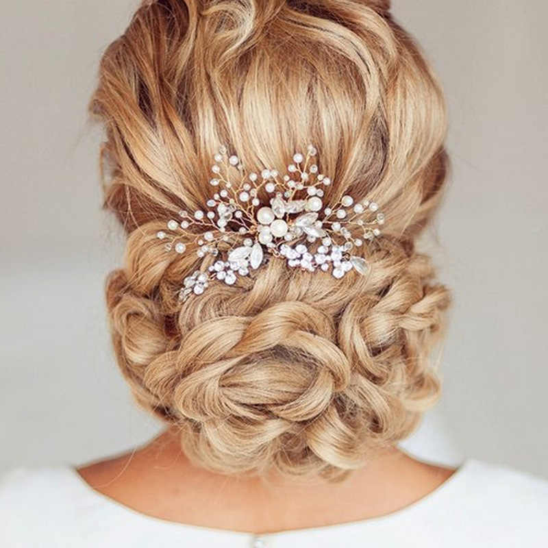 Women Pearl Hair Combs Wedding Hair Accessories Hair Pin Rhinestone Tiara Bridal Clips Crystal Crown Bride Hair Jewelry