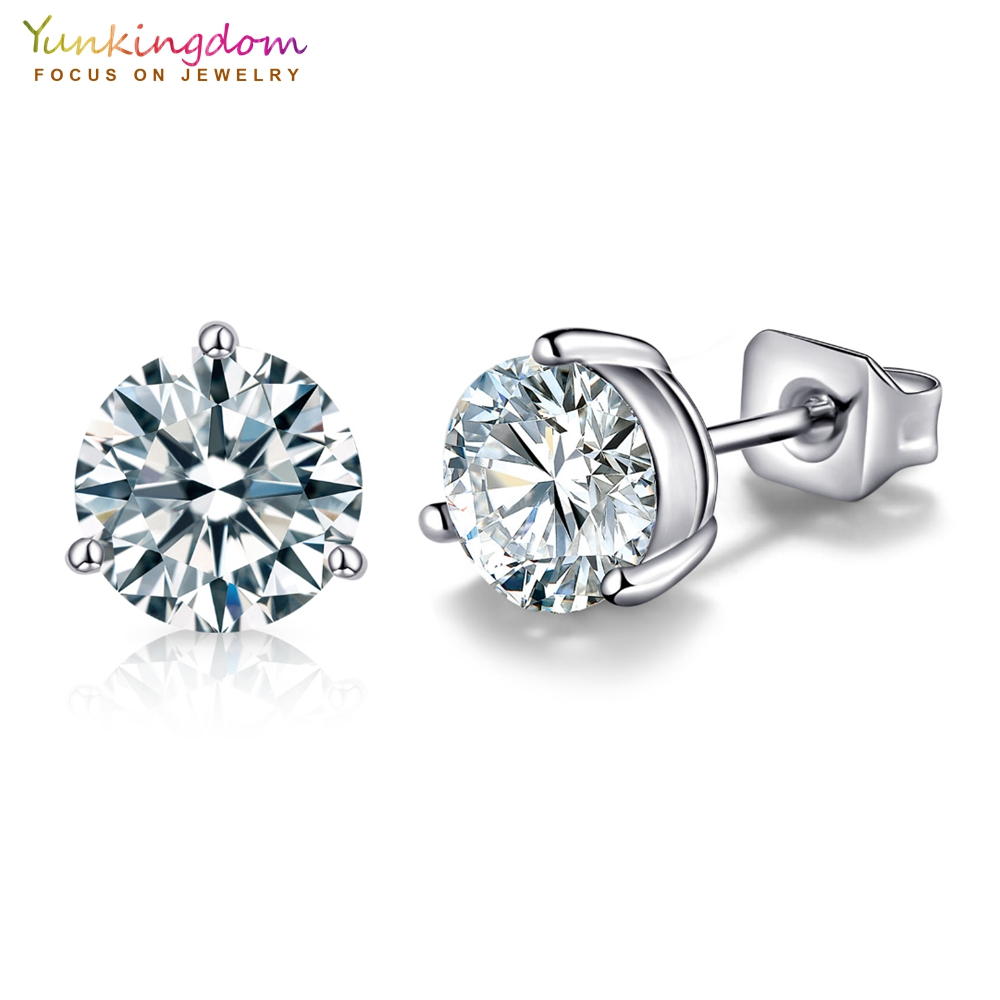 Round Clear Cubic Zirconia High Quality Stud Earrings for Women and Girl Fashion Jewelry Wholesale 4MM 5MM 6MM 7MM 8MM 9MM