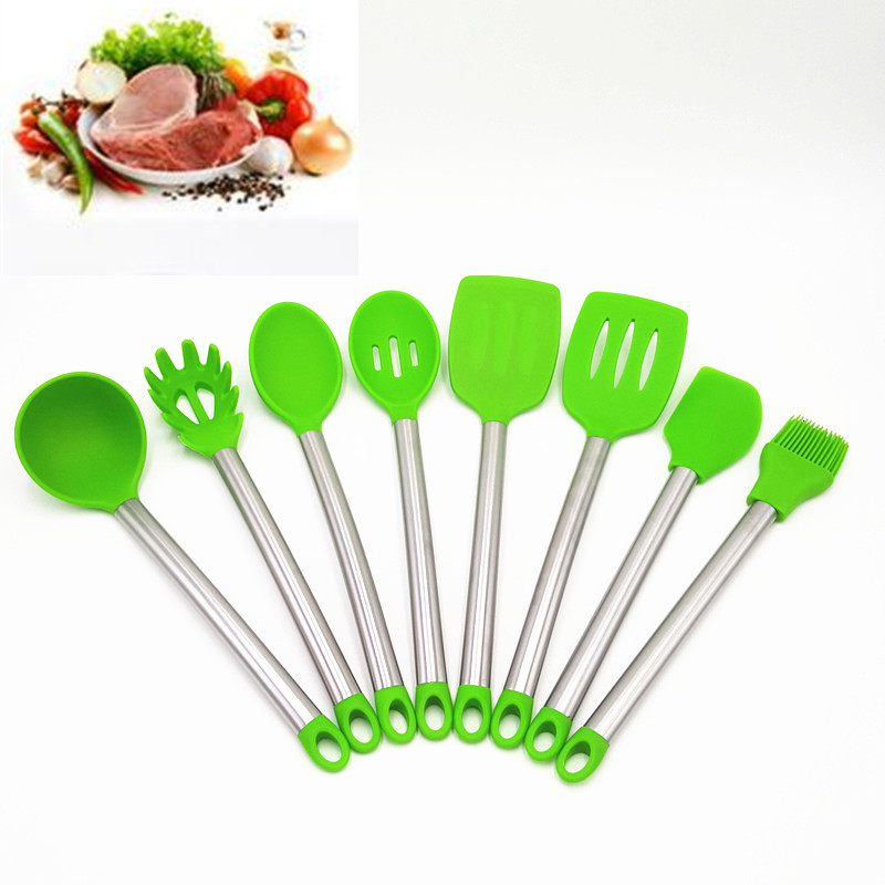 To encounter 2017 New Kitchen Supplies 8pcs Accessories Silicone Head S/S Handle Cooking Tools Set Hot Sale